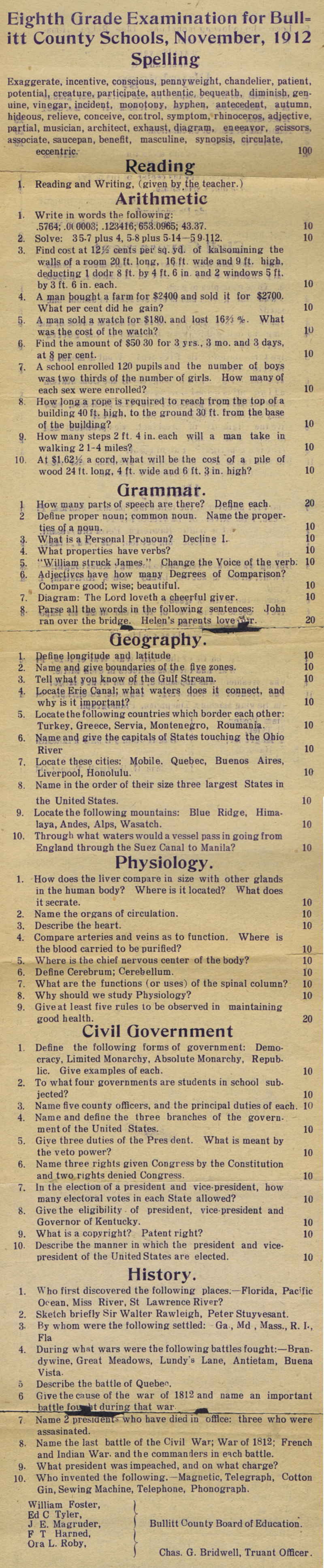 Bullitt County History 1912 School Exam